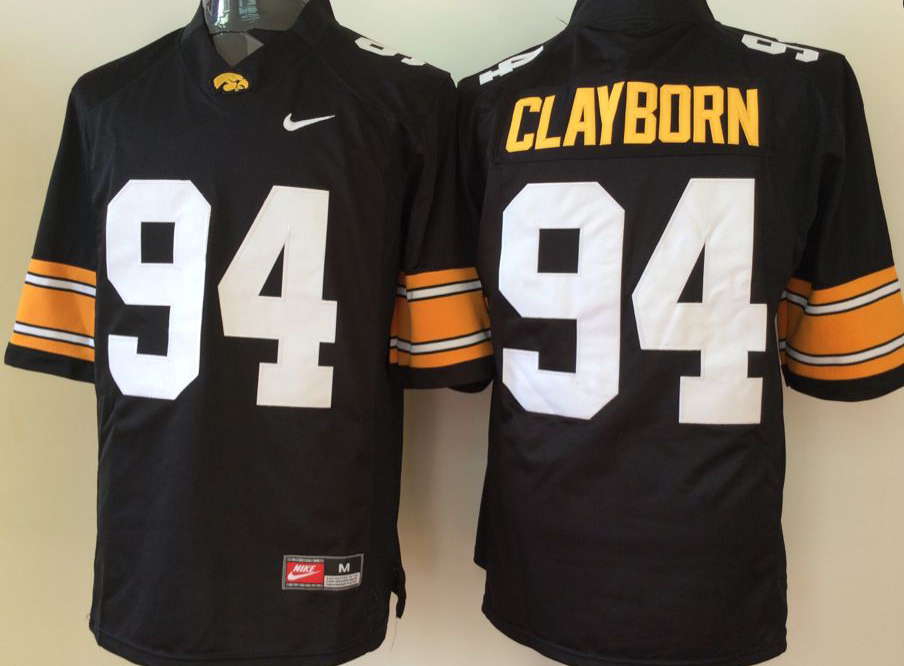 NCAA Men Iowa Hawkeyes Black 94 clayborn