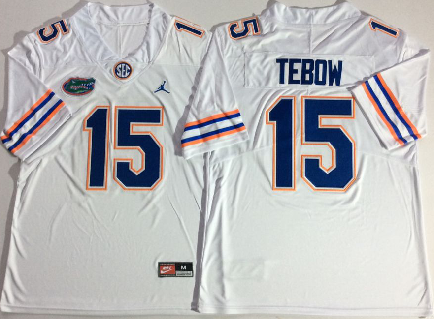 NCAA Men Jordan Florida Gators White 15 TEBOW