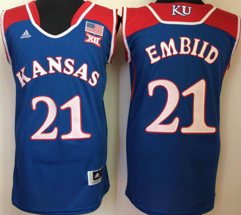 NCAA Men Kansas Jayhawks Blue 21 embiid