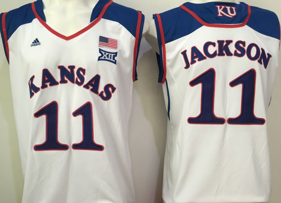 NCAA Men Kansas Jayhawks White 11 jackson