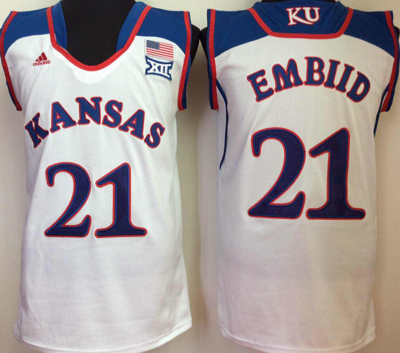 NCAA Men Kansas Jayhawks White 21 embiid