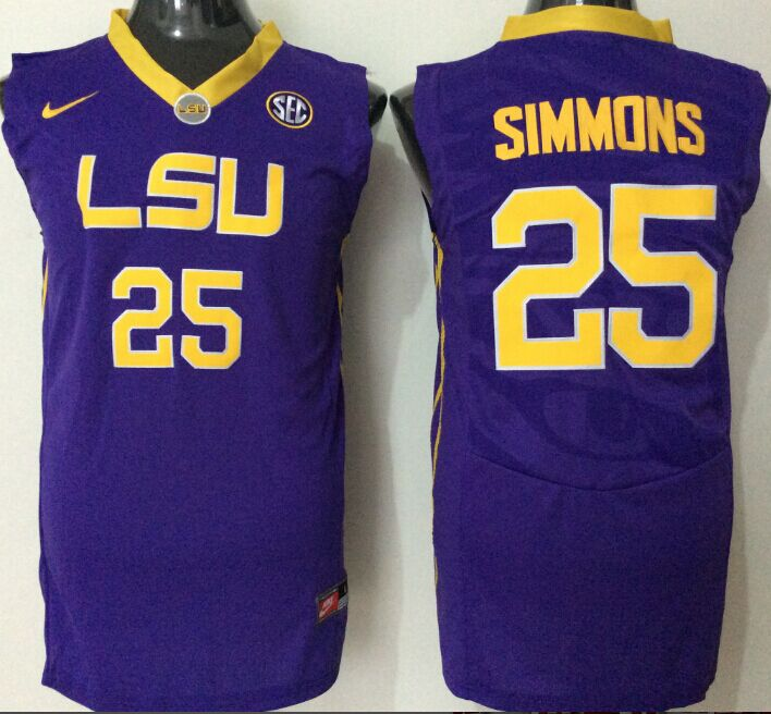 NCAA Men LSU Tigers 25 simmons purple