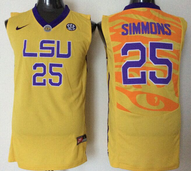 NCAA Men LSU Tigers 25 simmons yellow