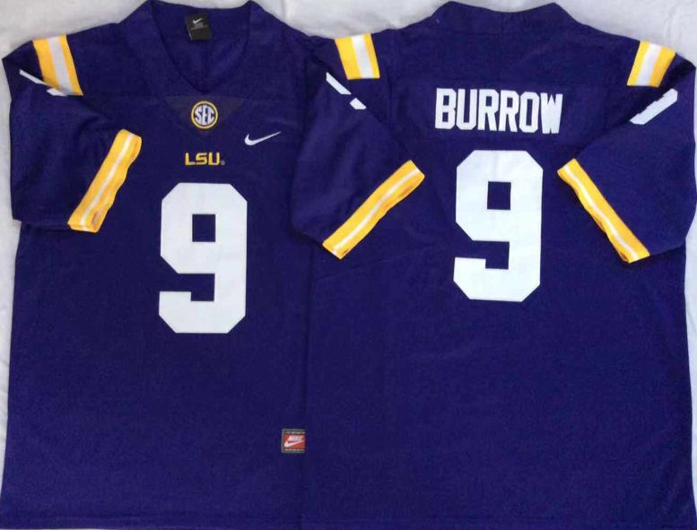 NCAA Men LSU Tigers Purple 9 BURROW