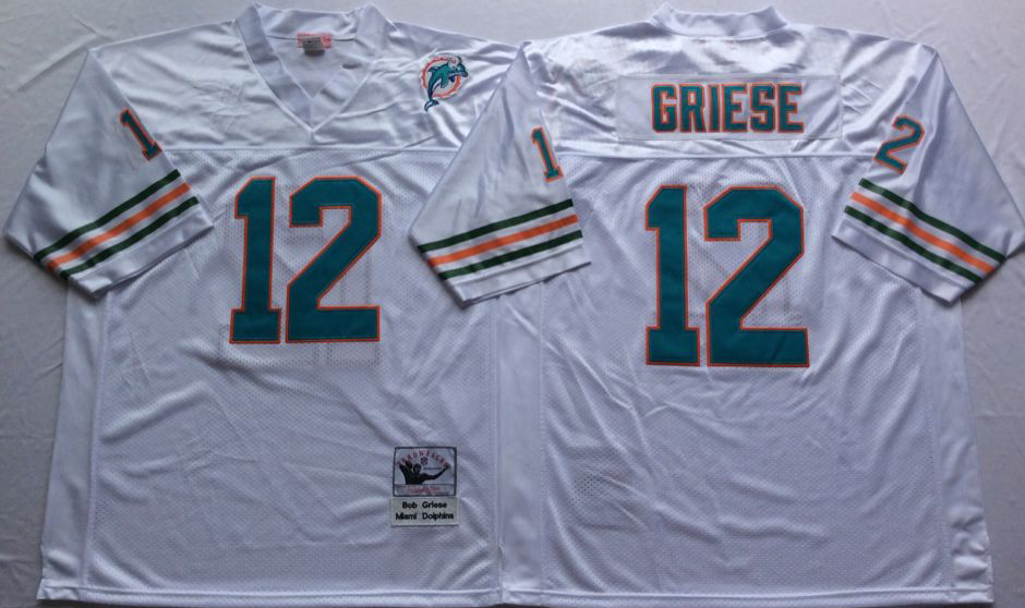 NCAA Men Miami Dolphins White 12 griese