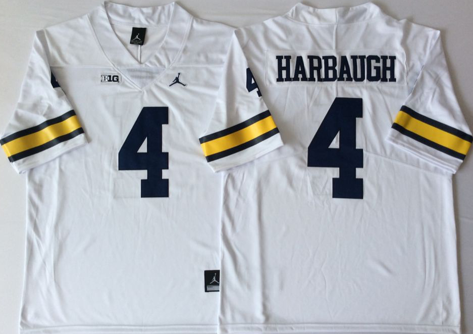 NCAA Men Michigan Wolverines White 4 HARBAUGH