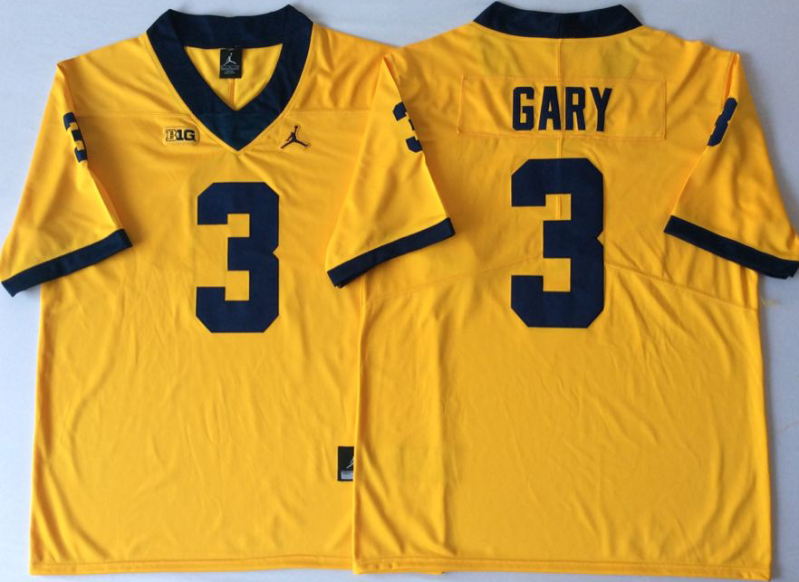 NCAA Men Michigan Wolverines YELLOW 3 GARY
