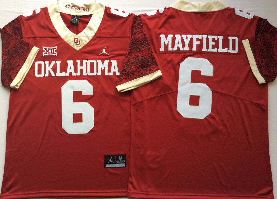 NCAA Men Oklahoma Sooners Red 6 MAYFIELD