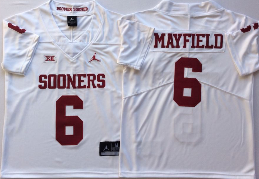 NCAA Men Oklahoma Sooners White 6 MAYFIELD