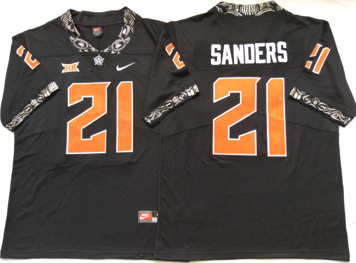 NCAA Men Oklahoma State Cowboys Black 21 SANDERS