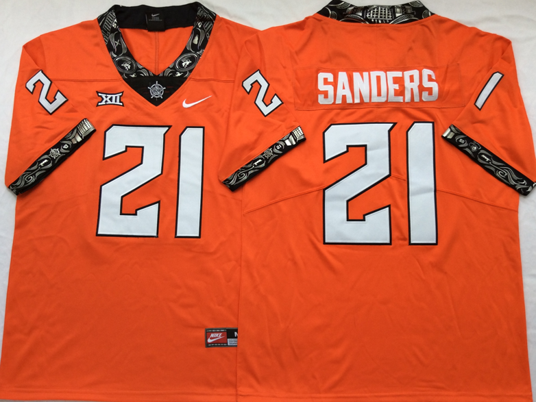 NCAA Men Oklahoma State Cowboys Orange 21 SANDERS