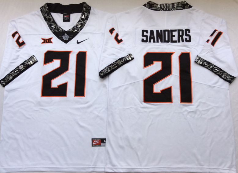 NCAA Men Oklahoma State Cowboys White 21 SANDERS