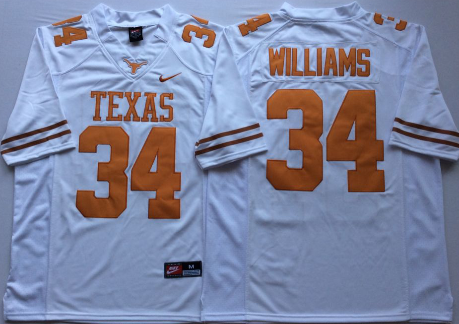 NCAA Men Texas Longhorns White 34 WILLIAMS