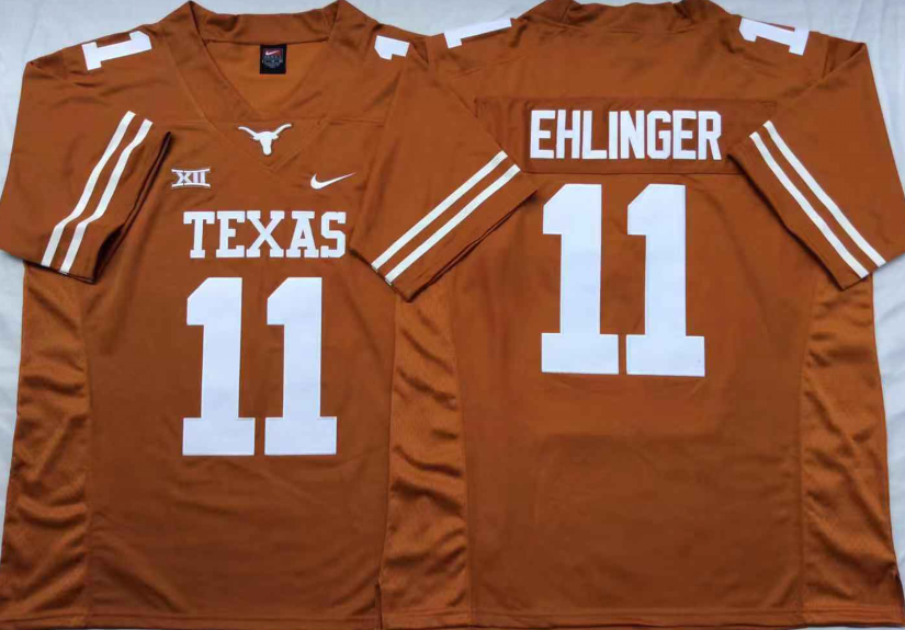 NCAA Men Texas Longhorns Yellow 11 EHLINGER