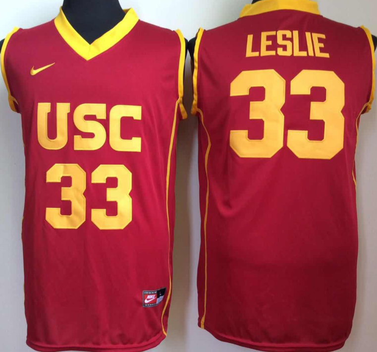NCAA Men USC Trojans Red 33 leslie
