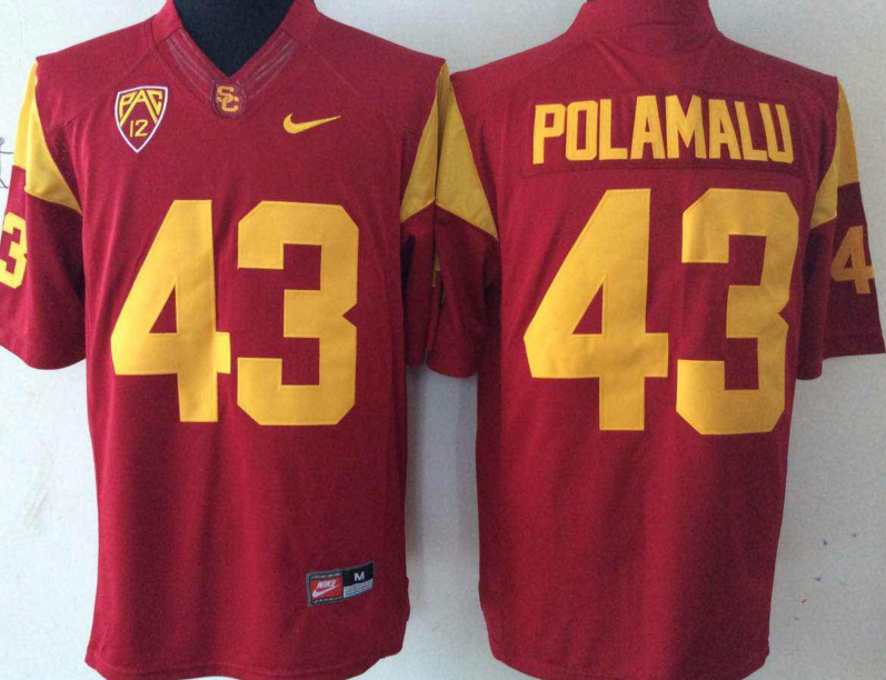 NCAA Men USC Trojans Red 43 POLAMALU