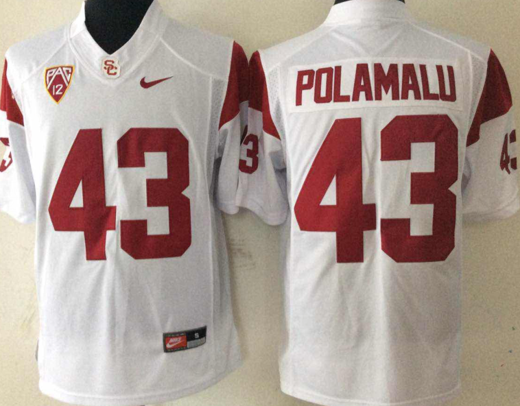 NCAA Men USC Trojans White 43 POLAMALU