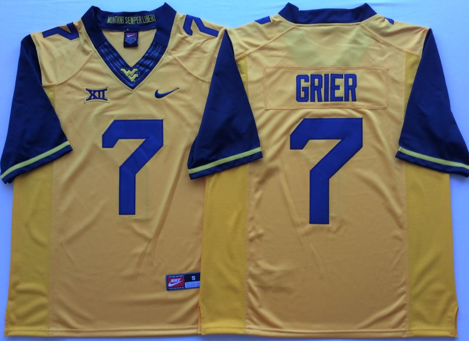 NCAA Men West Virginia Mountaineers YELLOW 7 GRIER