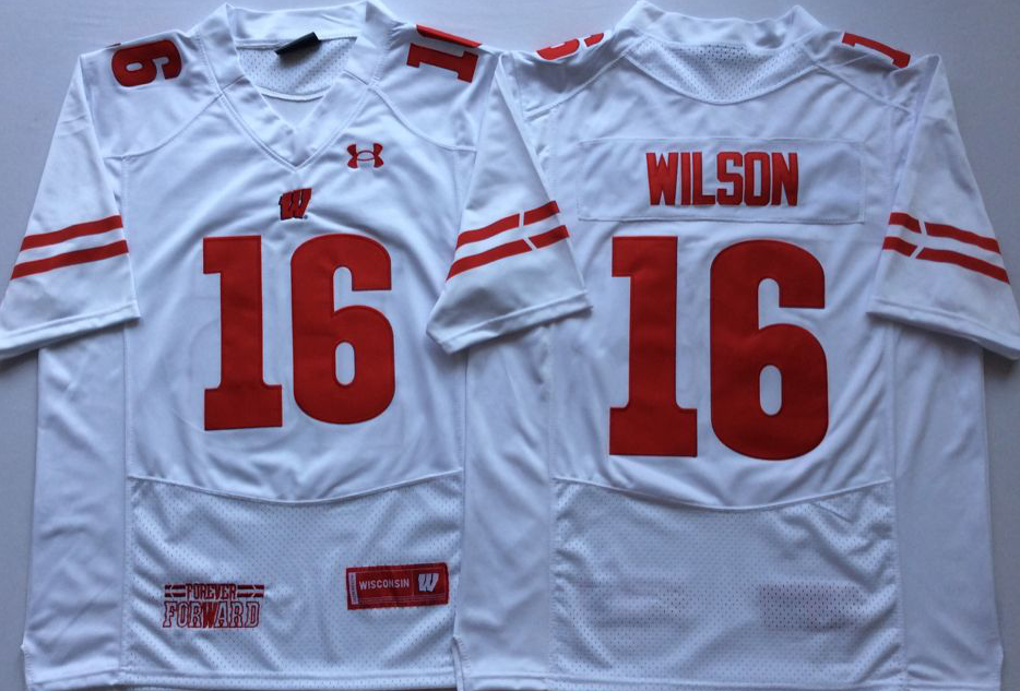 NCAA Men Wisconsin Badgers White 16 WILSON