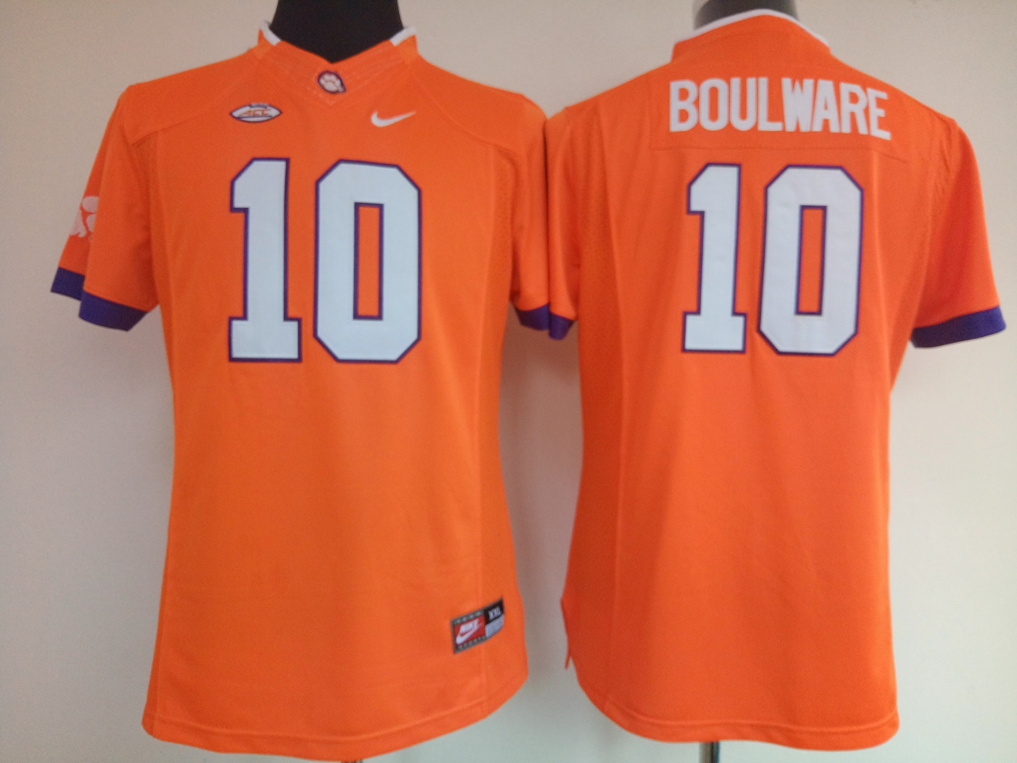 NCAA Womens Clemson Tigers Orange 10 Boulware jerseys