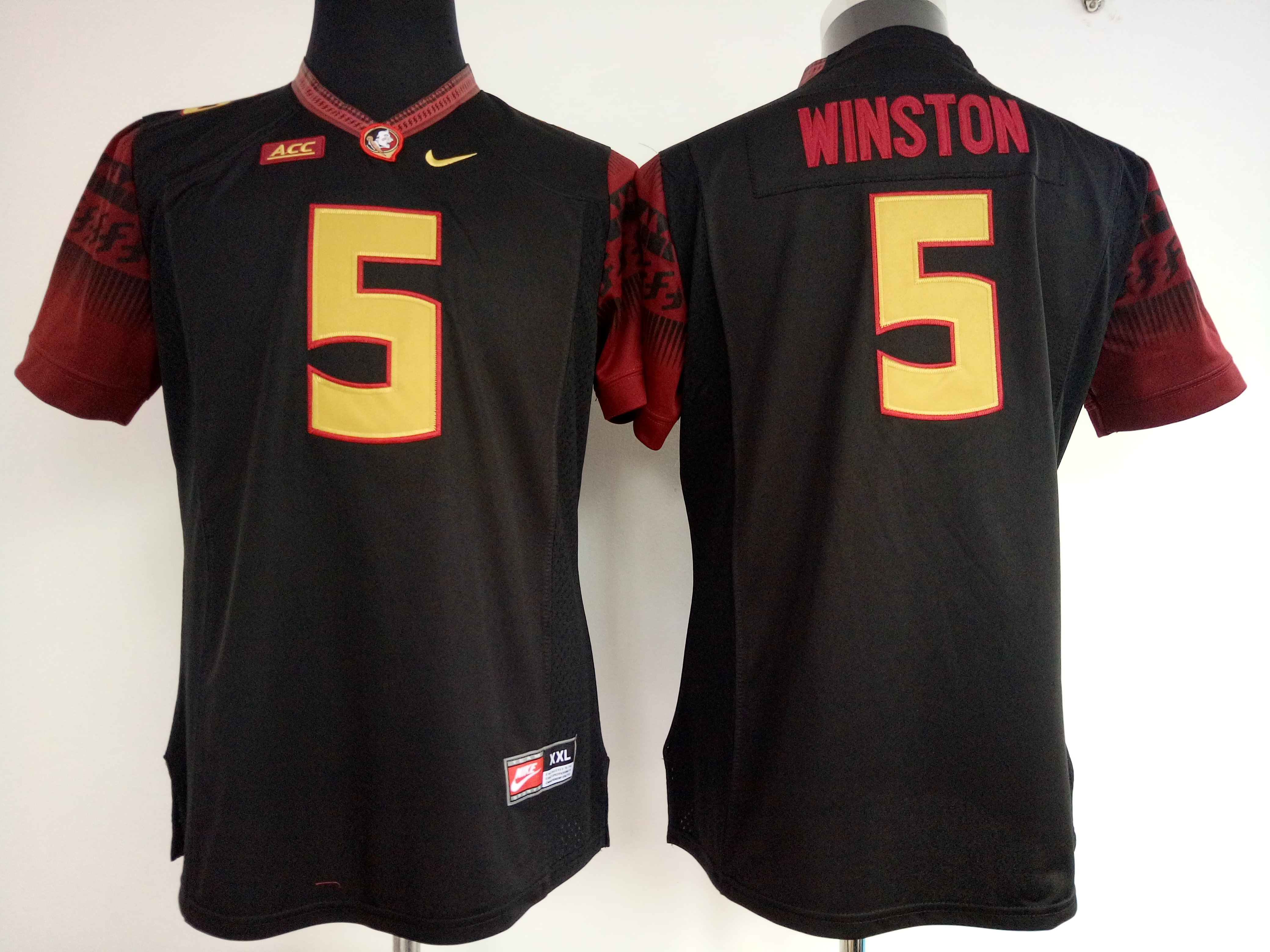 NCAA Womens Florida State Seminoles Black 5 Winston jerseys