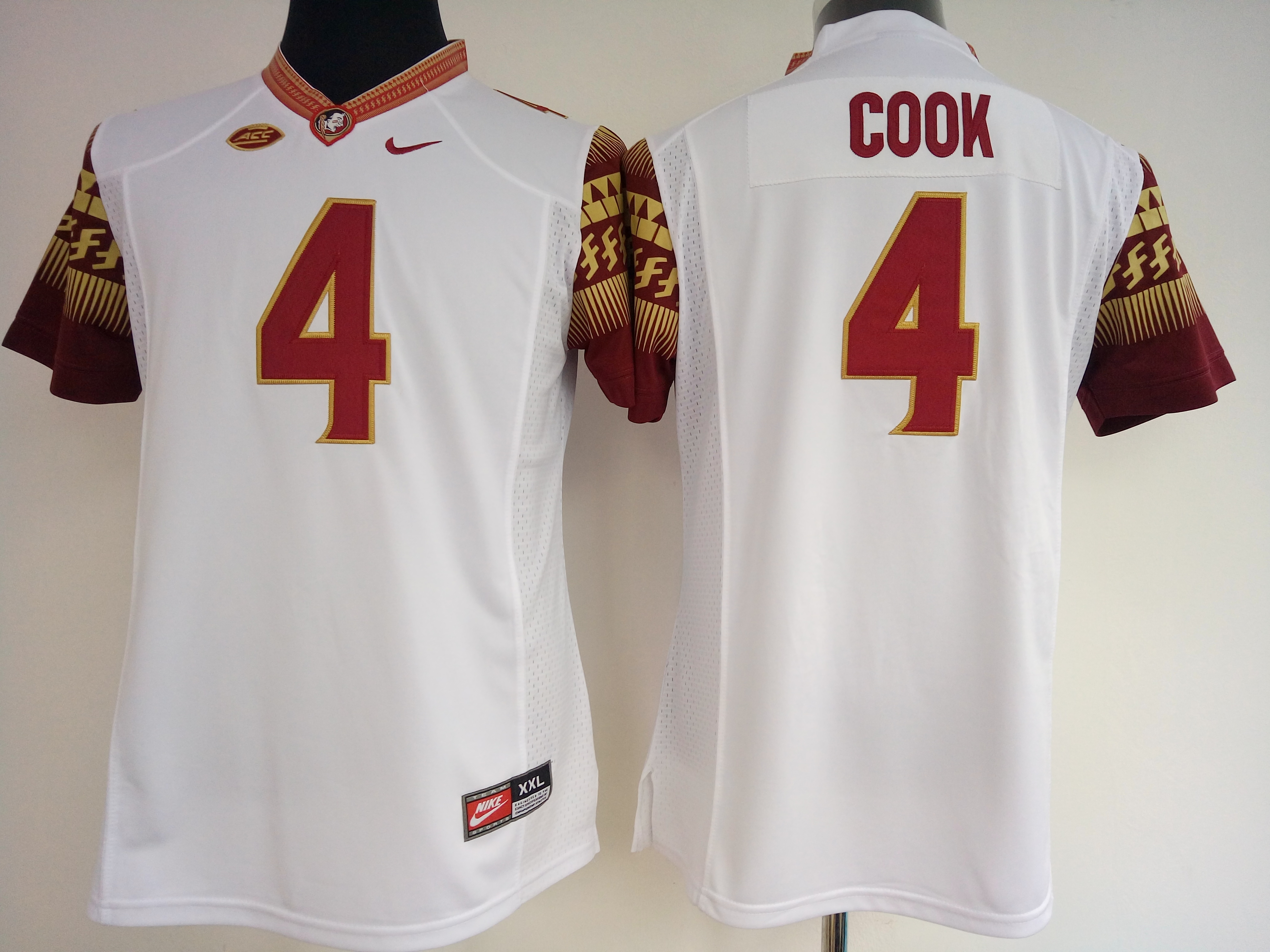 NCAA Womens Florida State Seminoles White 4 cook jerseys