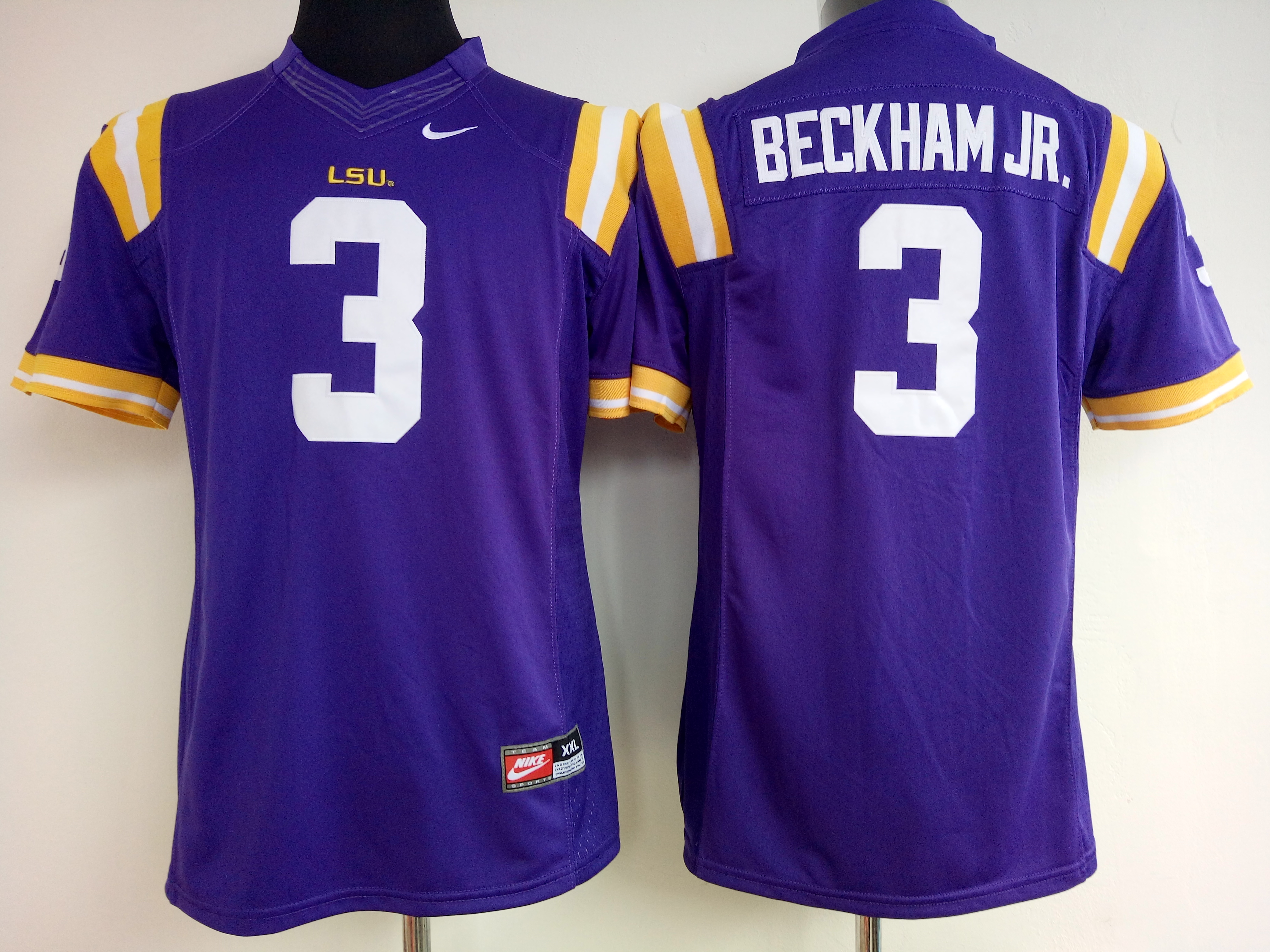 NCAA Womens LSU Tigers Purple 3 Beckham Jr jerseys