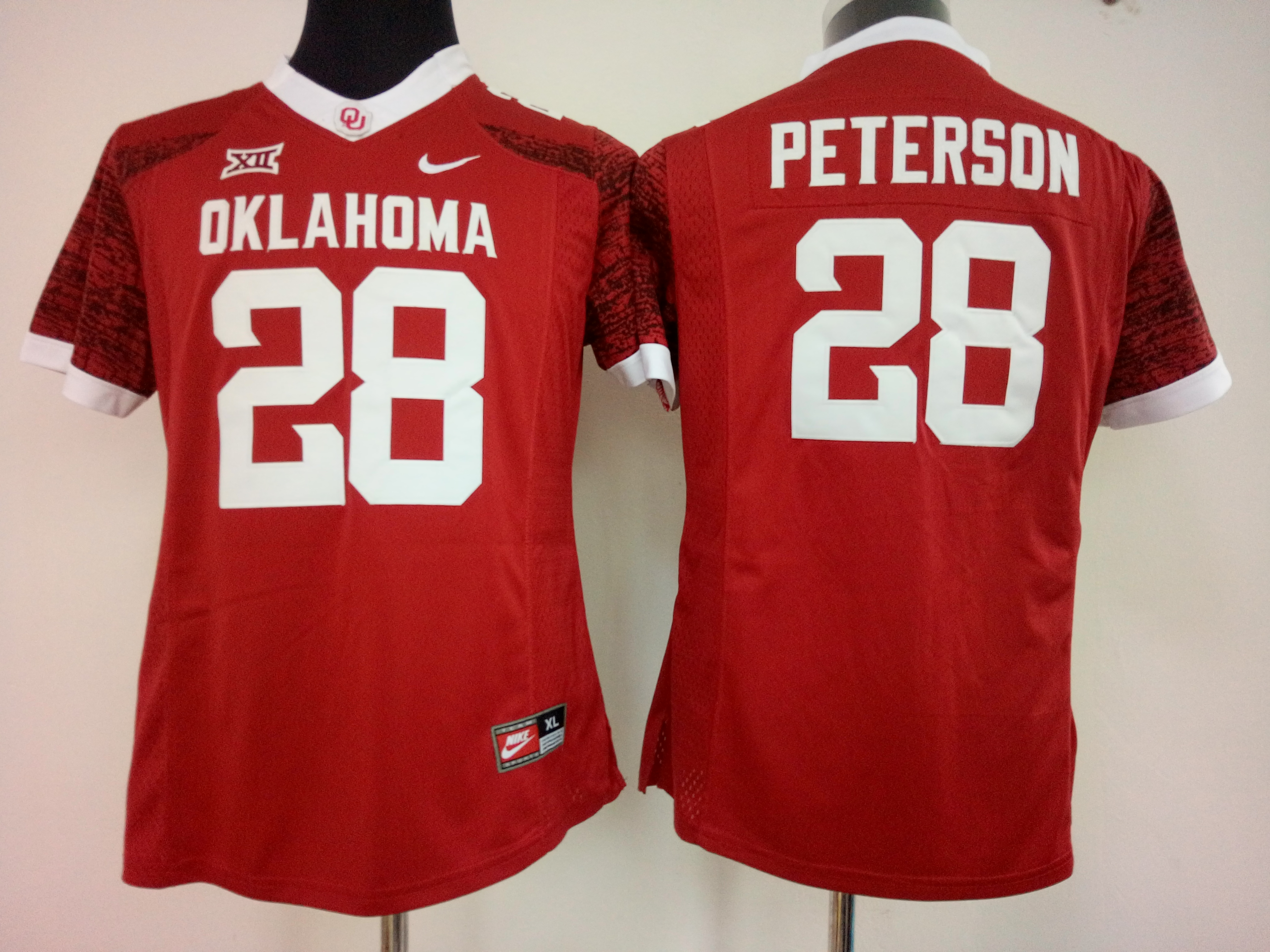NCAA Womens Oklahoma Sooners Red 28 peterson jerseys