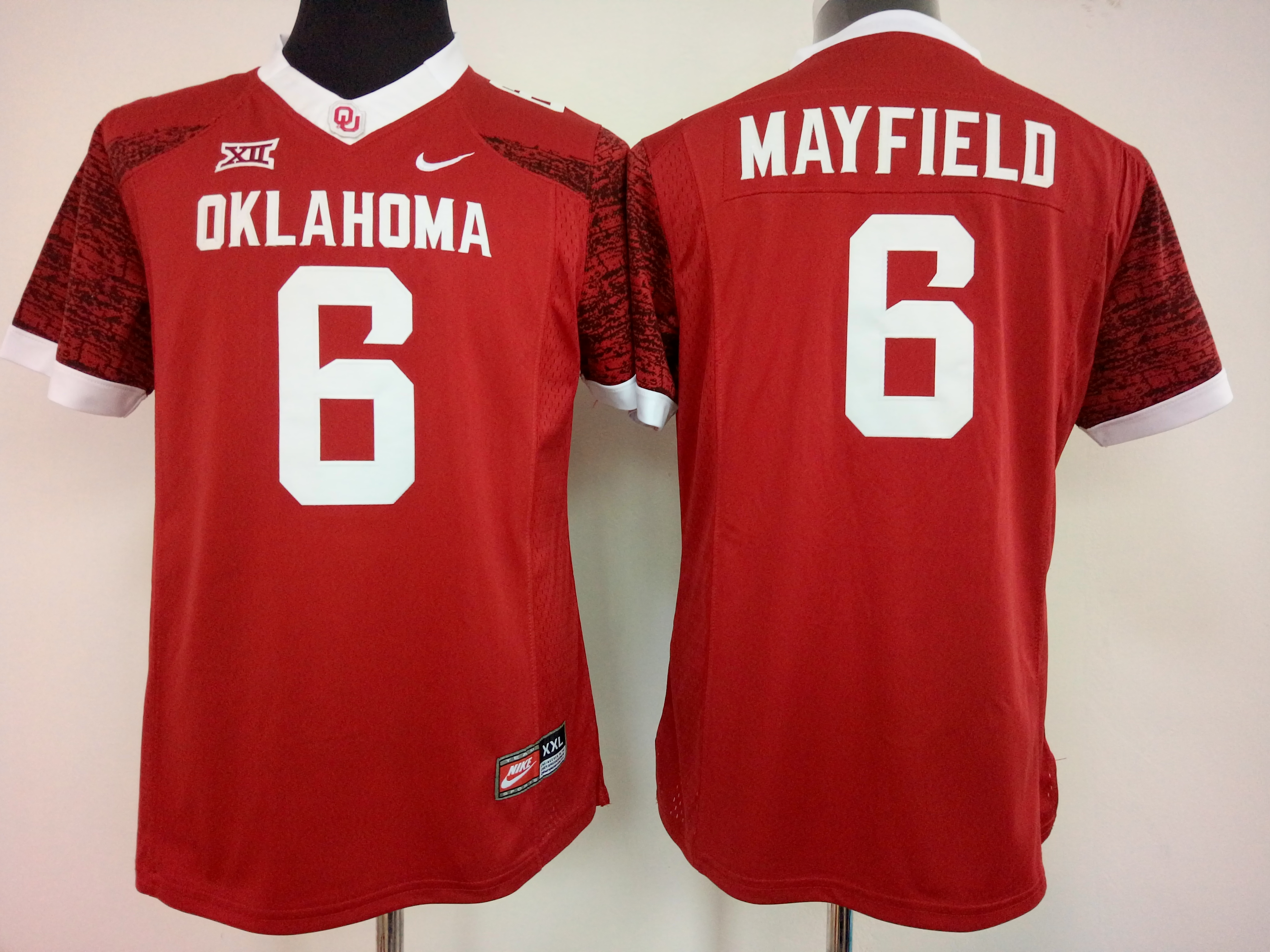 NCAA Womens Oklahoma Sooners Red 6 Mayfield jerseys