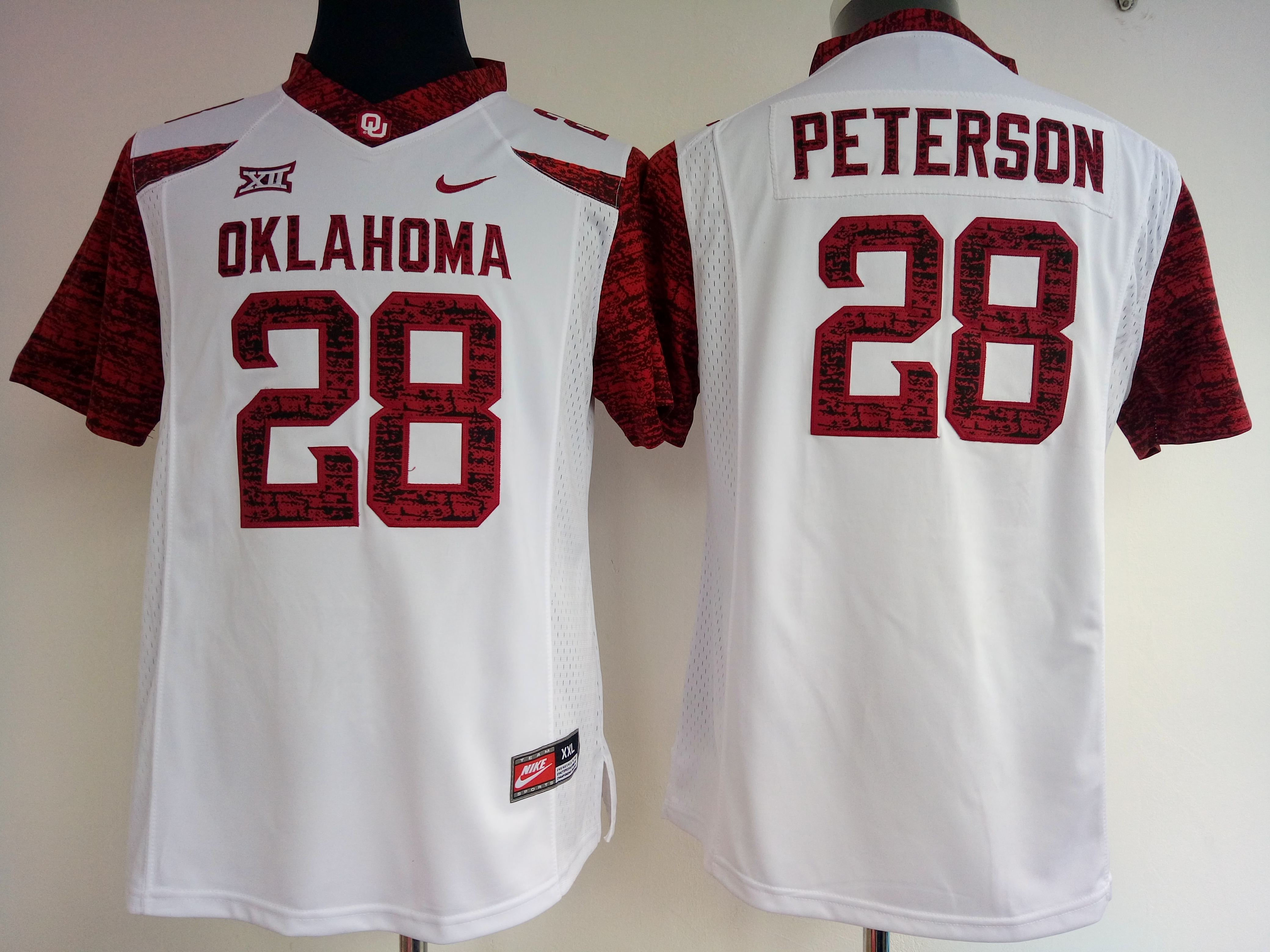 NCAA Womens Oklahoma Sooners White Limited 28 peterson jerseys