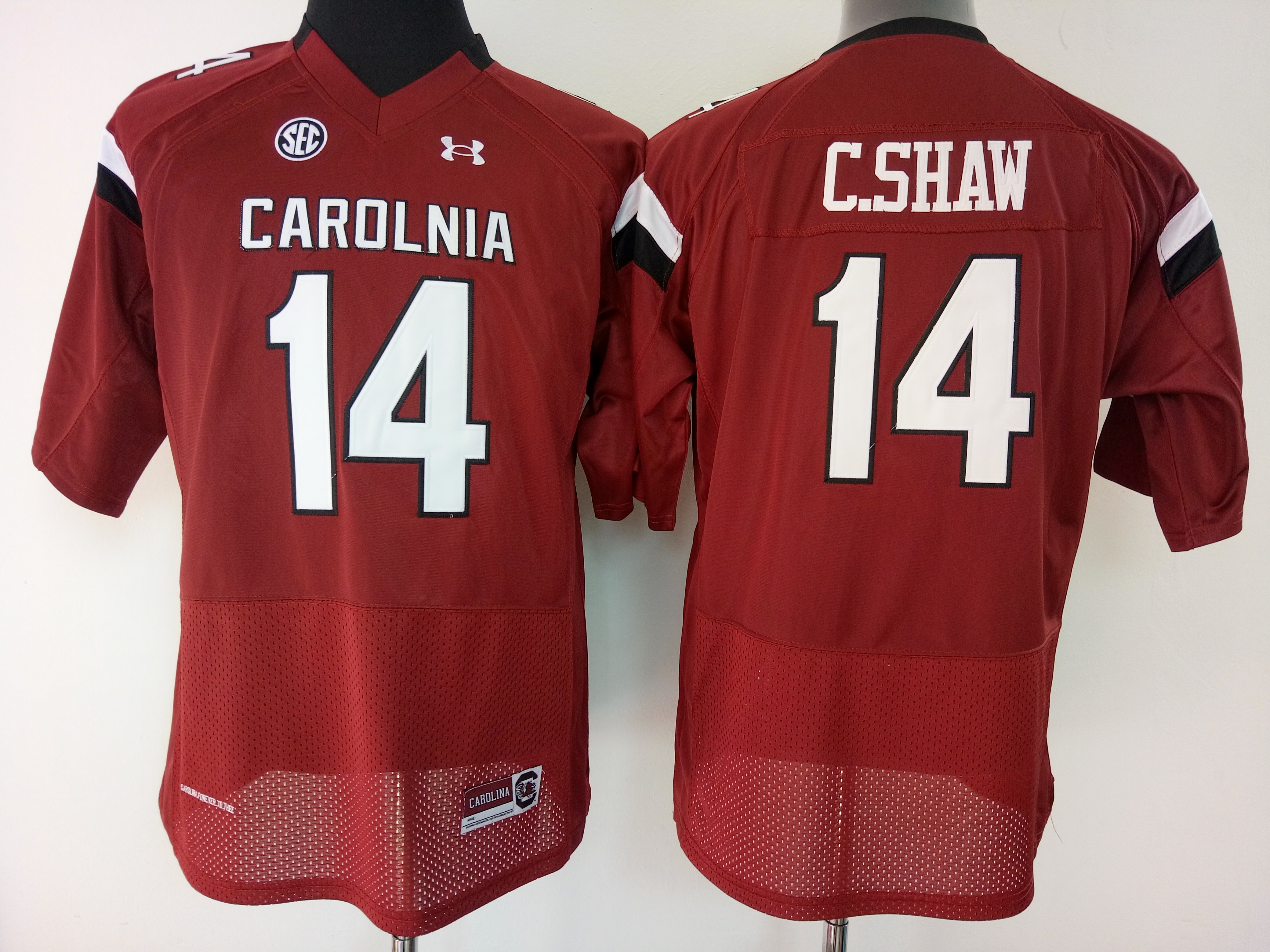 NCAA Womens South Carolina Gamecock Red 14 C shaw jerseys