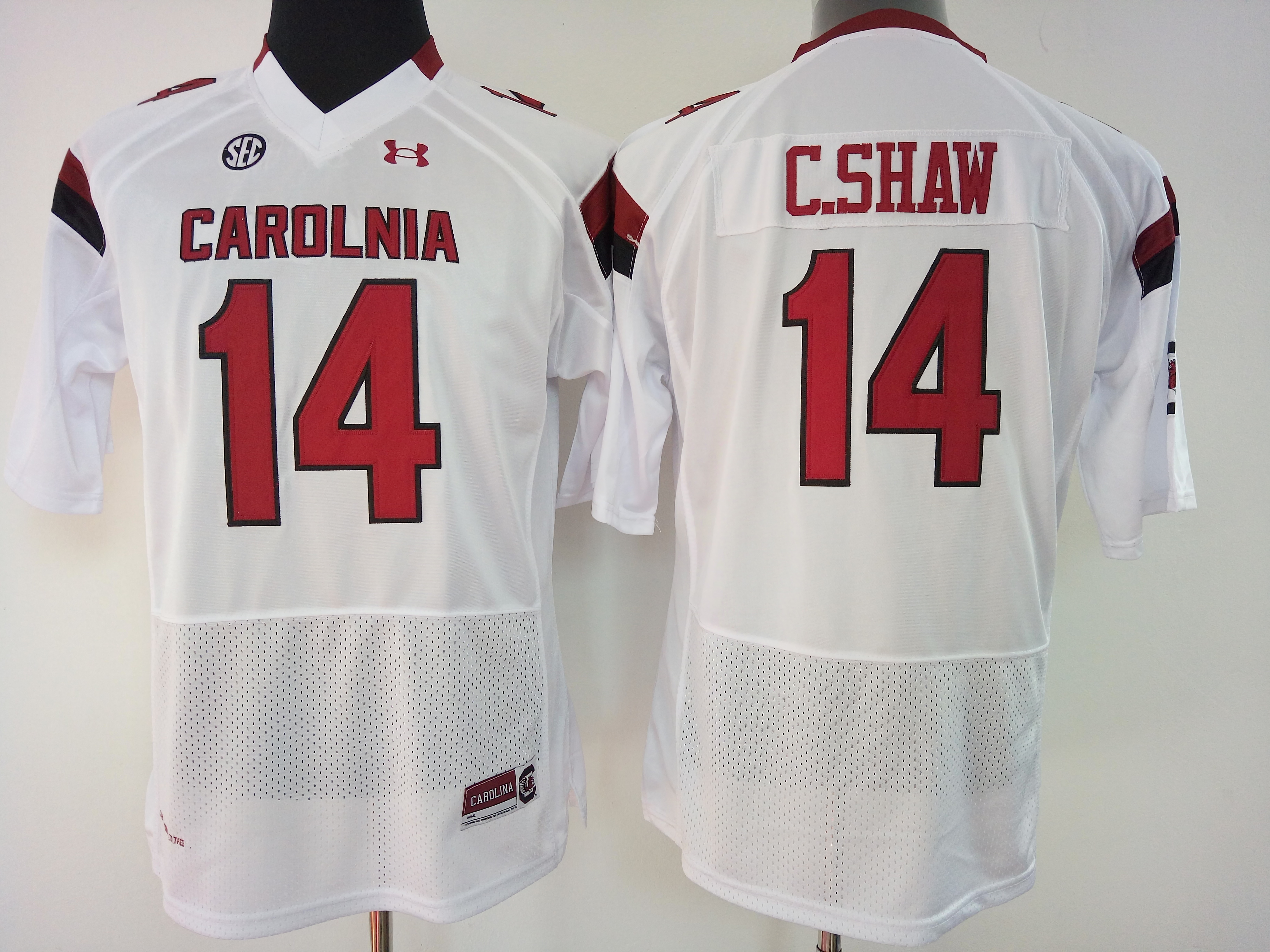 NCAA Womens South Carolina Gamecock White 14 c shaw jerseys