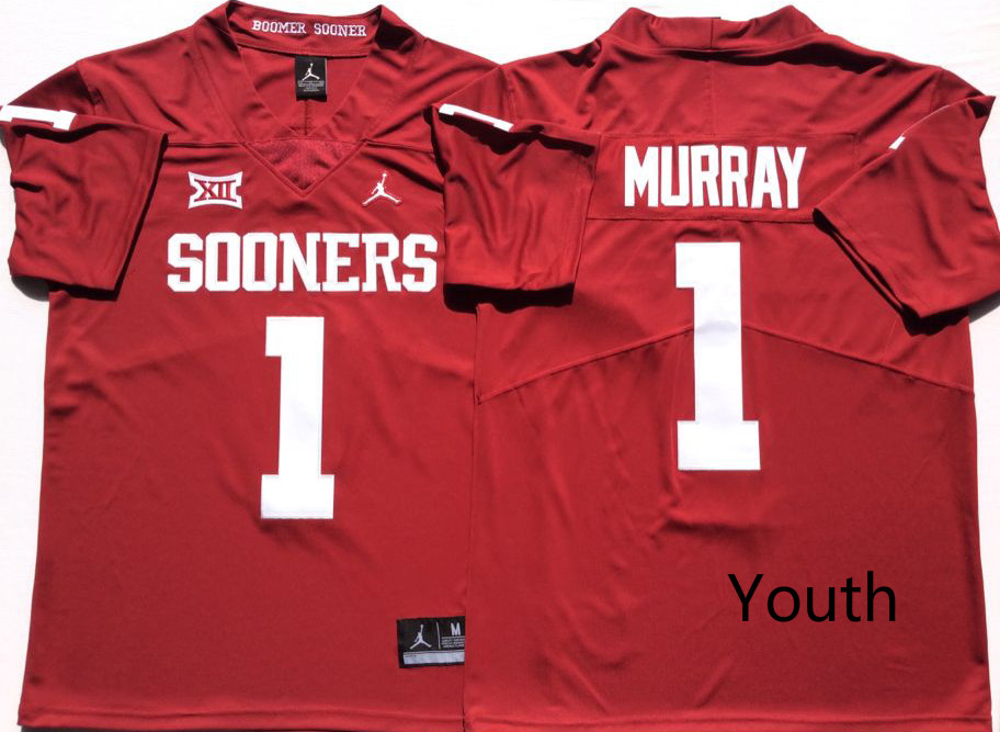 NCAA Youth Oklahoma Sooners Red 1 MURRA jerseys