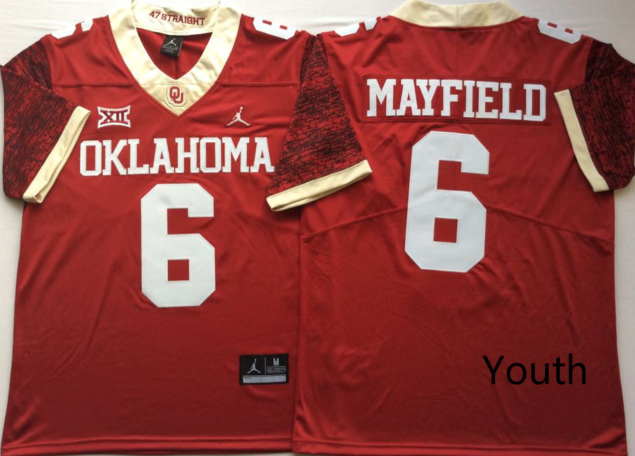 NCAA Youth Oklahoma Sooners Red 6 MAYFIELD jerseys