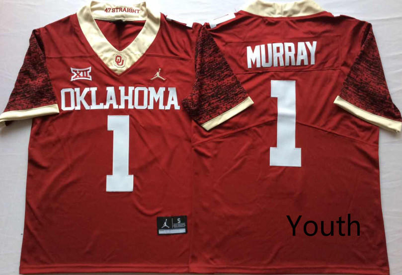 NCAA Youth Oklahoma Sooners Red Limited 1 MURRAY jerseys