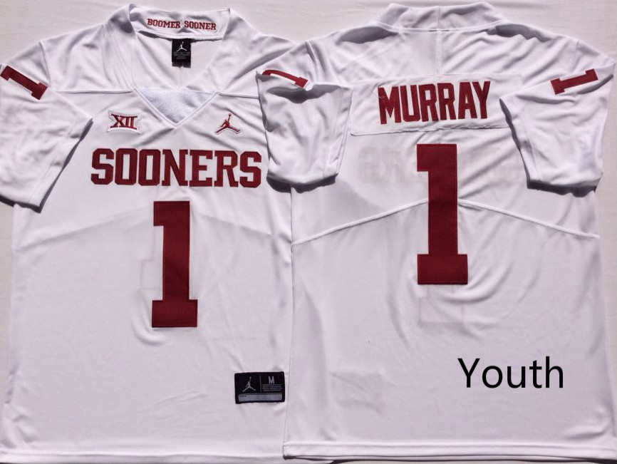 NCAA Youth Oklahoma Sooners White 1 MURRAY jerseys