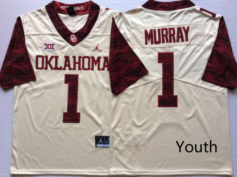NCAA Youth Oklahoma Sooners White Limited 1 MURRAY jerseys