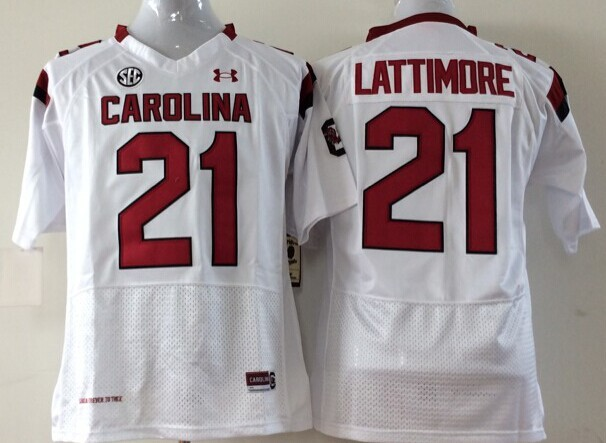 NCAA Youth South Carolina Gamecock White 21 Lattimore jerseys