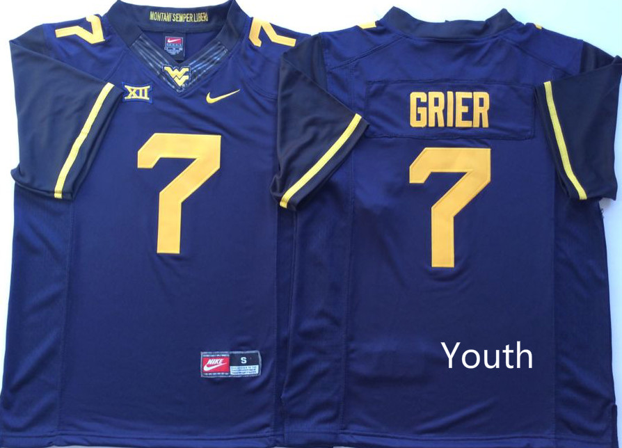 NCAA Youth West Virginia Mountaineers Blue 7 GRIER jerseys