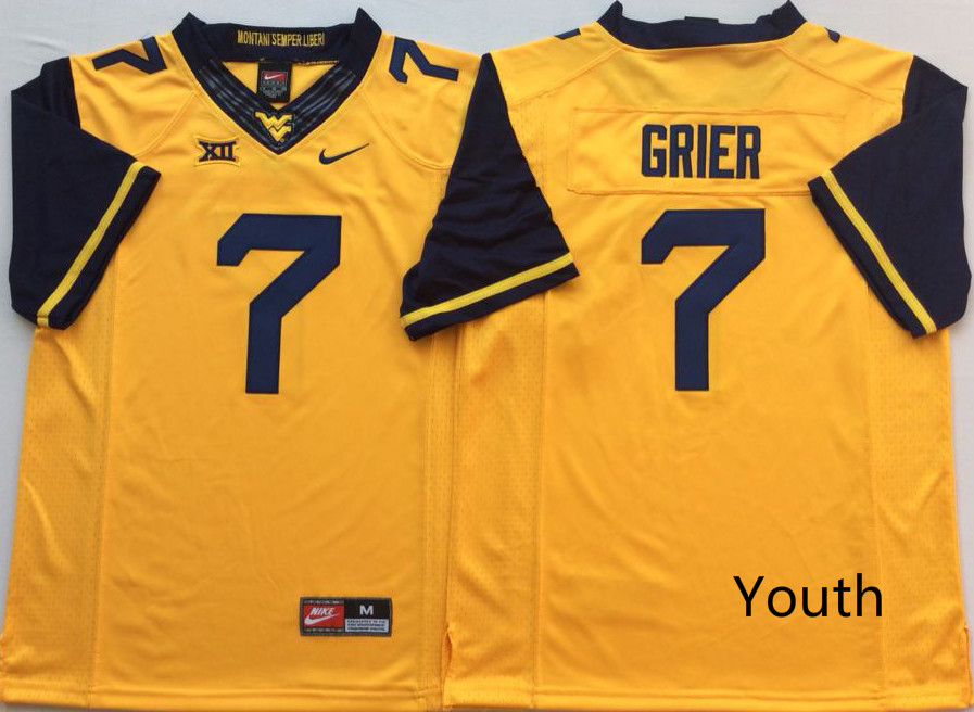NCAA Youth West Virginia Mountaineers Yellow 7 GRIER jerseys