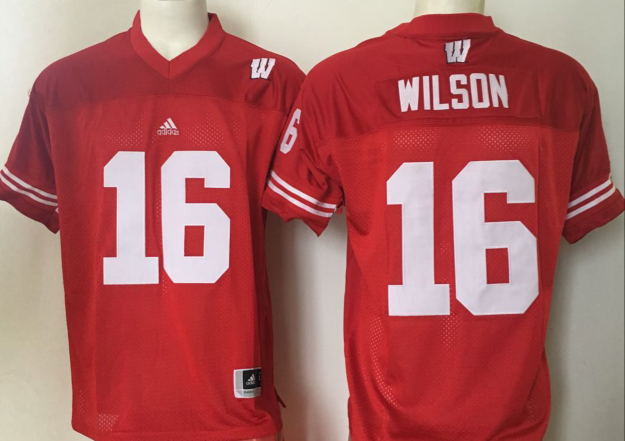 NCAA Youth Wisconsin Badgers Red 16 Wilson jerseys
