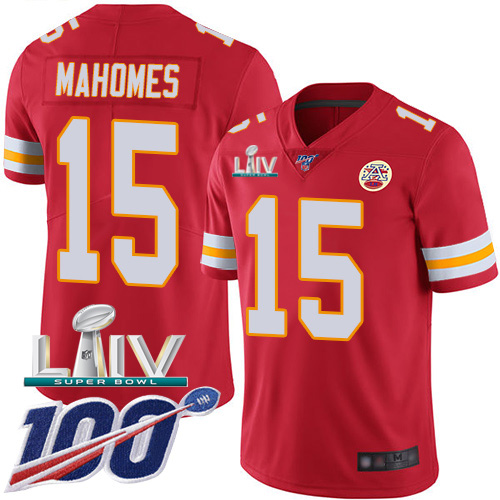 Kansas City Chiefs Nike 15 Patrick Mahomes Red Super Bowl LIV 2020 Team Color Men Stitched NFL 100th Season Vapor Untouchable Limited Jersey