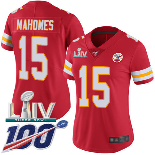 Kansas City Chiefs Nike 15 Patrick Mahomes Red Super Bowl LIV 2020 Team Color Women Stitched NFL 100th Season Vapor Untouchable Limited Jersey