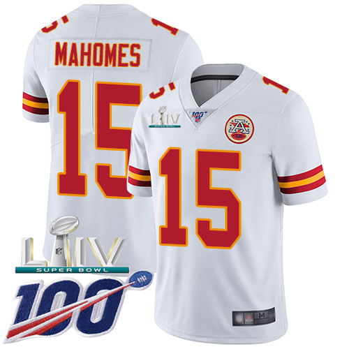 Kansas City Chiefs Nike 15 Patrick Mahomes White Super Bowl LIV 2020 Men Stitched NFL 100th Season Vapor Untouchable Limited Jersey
