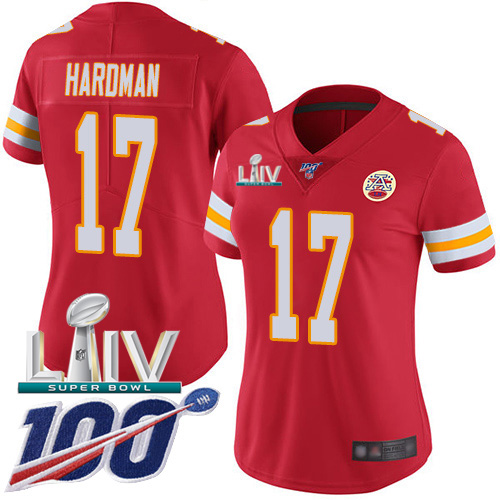 Kansas City Chiefs Nike 17 Mecole Hardman Red Super Bowl LIV 2020 Team Color Women Stitched NFL 100th Season Vapor Untouchable Limited Jersey