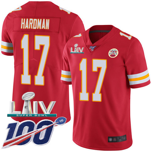 Kansas City Chiefs Nike 17 Mecole Hardman Red Super Bowl LIV 2020 Team Color Youth Stitched NFL 100th Season Vapor Untouchable Limited Jersey