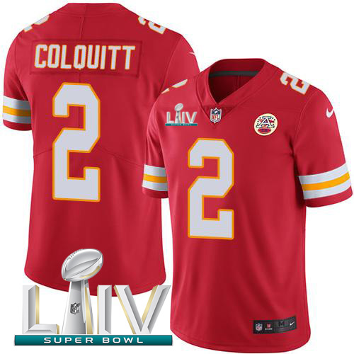 Kansas City Chiefs Nike 2 Dustin Colquitt Red Super Bowl LIV 2020 Team Color Youth Stitched NFL Vapor Untouchable Limited Jersey