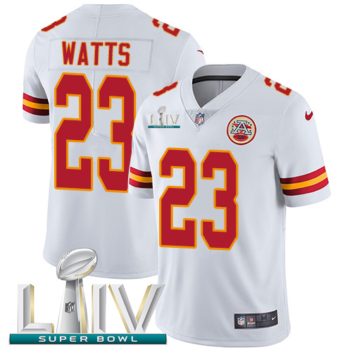 Kansas City Chiefs Nike 23 Armani Watts White Super Bowl LIV 2020 Men Stitched NFL Vapor Untouchable Limited Jersey