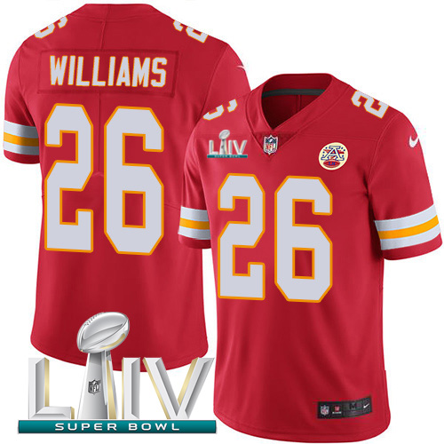Kansas City Chiefs Nike 26 Damien Williams Red Super Bowl LIV 2020 Team Color Men Stitched NFL Vapor Untouchable Limited Jersey