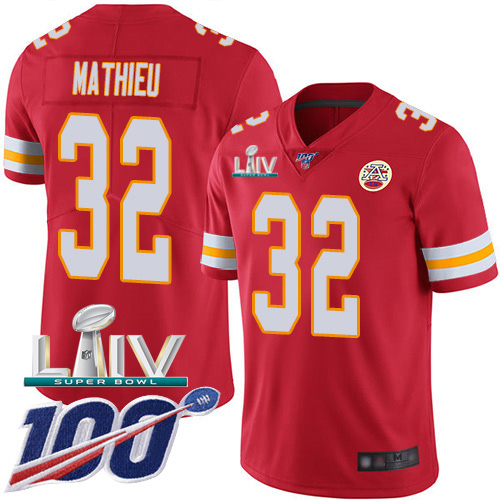 Kansas City Chiefs Nike 32 Tyrann Mathieu Red Super Bowl LIV 2020 Team Color Men Stitched NFL 100th Season Vapor Untouchable Limited Jersey